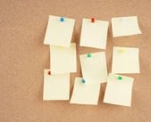 Notes on corkboard — Stock Photo