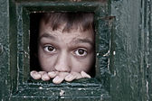 Looking out through the jail window — Stock Photo