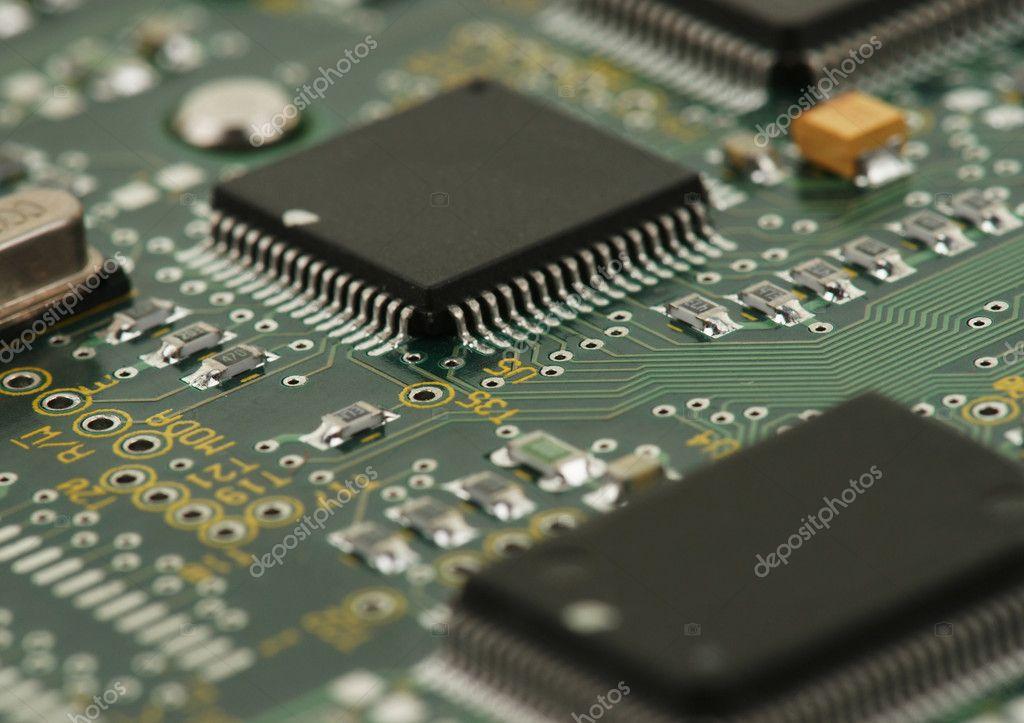 电路板上的芯片 — 图库照片