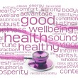 Pink stethoscope and health wordcloud — Stock fotografie
