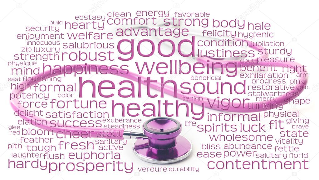 Pink health healthy and wellbeing word or tag cloud over pink stethoscope  Stock Photo #3192976