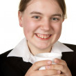 Young business woman with coffee — Stock Photo