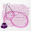 Pink stethoscope and health wordcloud — 图库照片