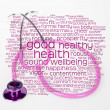 Foto Stock: Pink stethoscope and health wordcloud