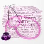Rosa Stethoskop und Gesundheit wordcloud — Stockfoto