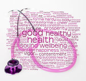 Pink stethoscope and health wordcloud — Stock Photo