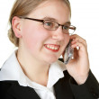 Young business woman talking on phone — Stock Photo
