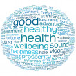 Health and wellbeing tag or word cloud - Foto Stock
