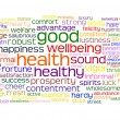 Good health and wellbeing tag cloud — Stockfoto #3600951