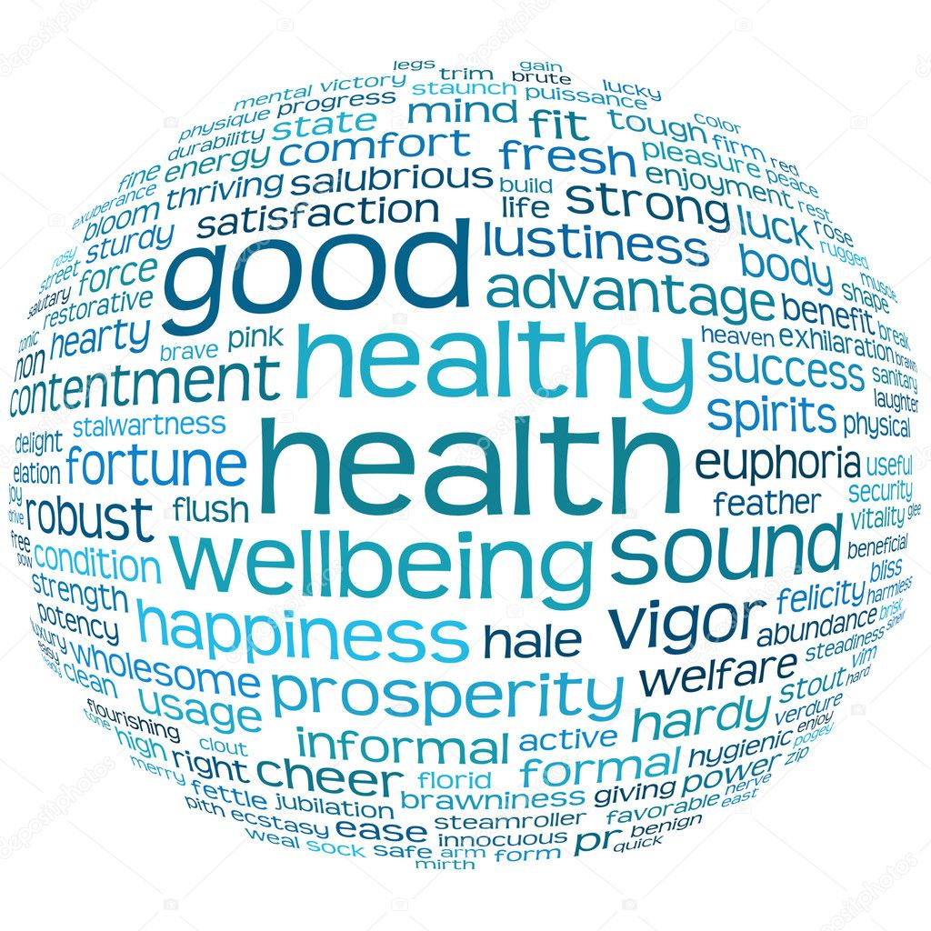 Good health and wellbeing tag or word cloud — 图库照片 #3600948