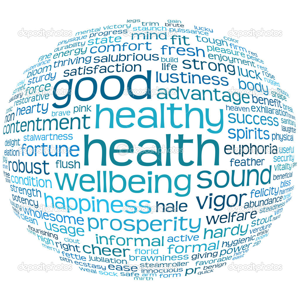 Good health and wellbeing tag or word cloud — Lizenzfreies Foto #3600948