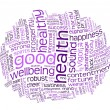 Good health and wellbeing tag cloud — 图库照片