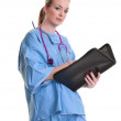 Young doctor or nurse on white — Stock Photo