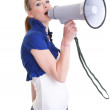 Young woman with megaphone — Stock Photo #3885002