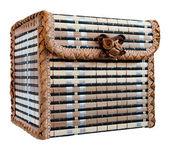 Wicker box for jewelry, isolated on a white background — Stock Photo