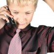 The business teenager agrees on the phone with the friends — Stock Photo