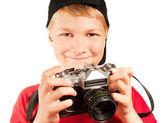 Professional photographer isolated on white — Stock Photo