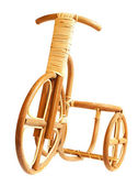 Wooden bicycle. Made by human hands from the dry wood. — Stock Photo