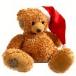 Teddy bear in Santa hat on white background - Stock Photo