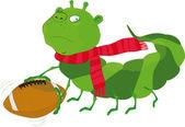 Caterpillar, el jugador de fútbol — Vector de stock