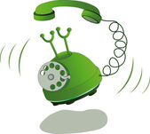 Green phone and call — Vector de stock