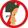 Stock Vector: Forbidding traffic sign Pee boy