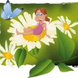 The girl and flowers - Stock Vector