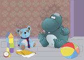 Hipopótamo y juguetes — Vector de stock