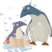 As mum of a penguin of soap — Stock Vector