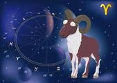 Astrologische tekens ram-geheugen — Stockvector
