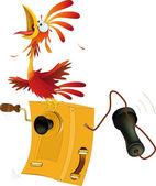 Coq et vieux téléphone — Vecteur