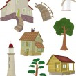 Complete set small houses — Vector de stock #3250263