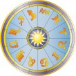 Stock Vector: Wheel and zodiac signs