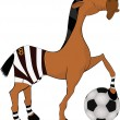 Horse the football player - Stock Vector
