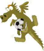 Dragon the goalkeeper and the football playe — Stock Vector