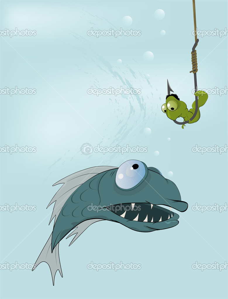 Hungry fish and clever worm. A fairy tale of my mum  — Stock Vector #3415900