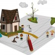 Small house and children's playground animal — Stock Vector