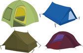 Set of tourist tents — Stok Vektör