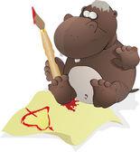 The small hippopotamus — Stock Vector