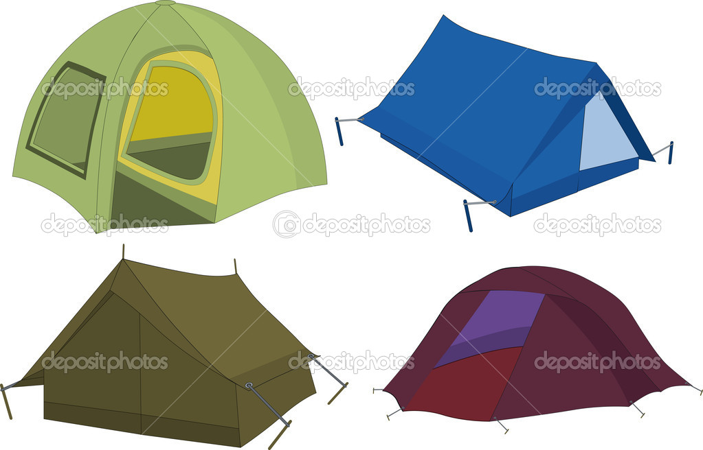 Set of tourist tents leisure travel — Stock Vector #3429266