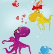Fairy tale about love and octopuses — Stock Vector