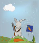 Malicious rabbit protecting — Stock Vector