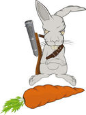 The malicious rabbit protects a carrot — Stock Vector