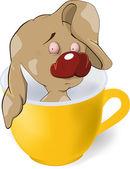 Cucciolo in una tazza — Vettoriale Stock