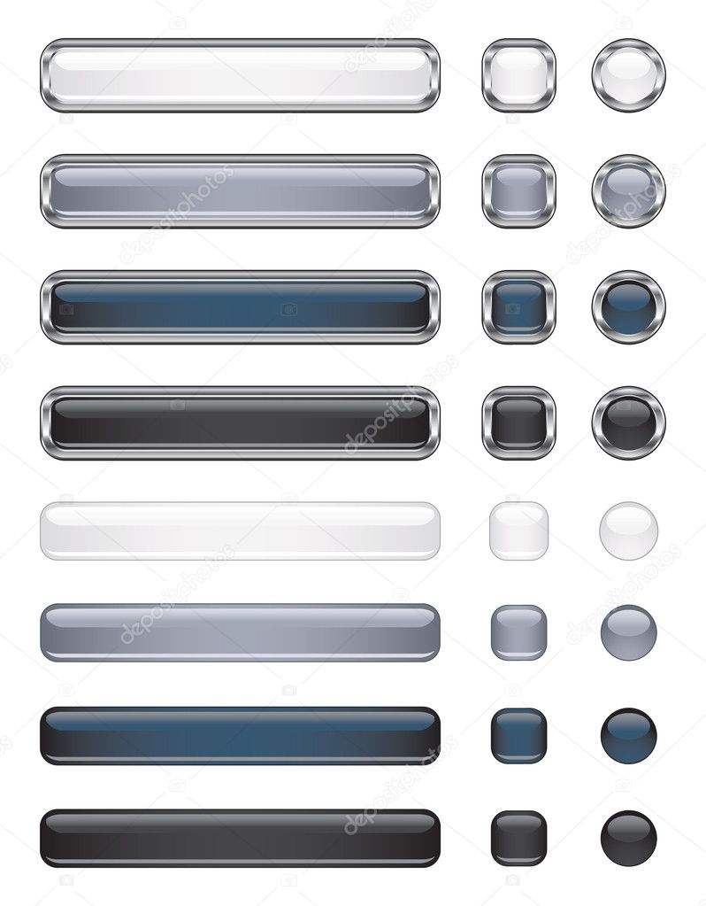 Black, white and gray shiny vector buttons  — Stock Vector #2809501