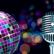 Stock Vector: Vector disco ball with microphone