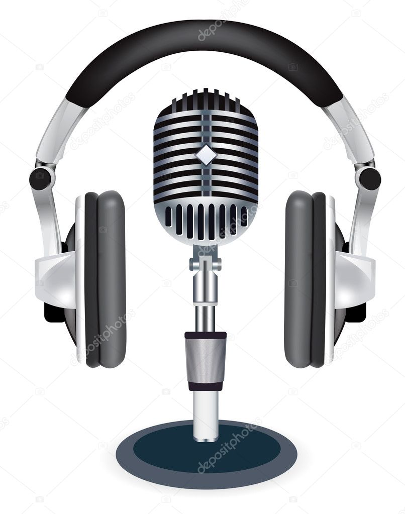 Vector headphones witn microphone on white background — Stock Vector #2851729