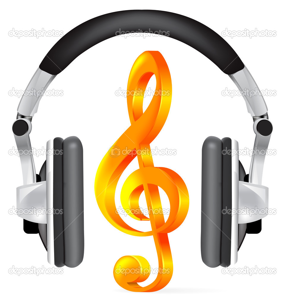 Realistic headphones with music note on white — Stock Vector #2851752