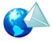 Mail in globe — Stock Vector