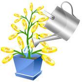 Może pieniądze drzewo z watreing — Wektor stockowy
